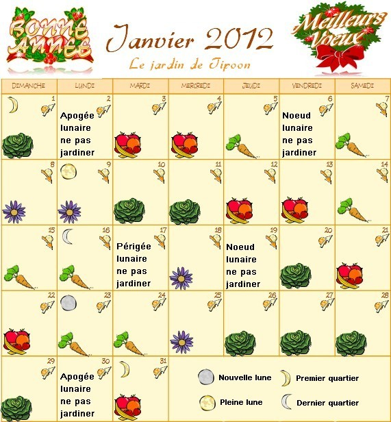 Le calendrier lunaire du mois de janvier 2012 - Calendrier lunaire du jardinier ...