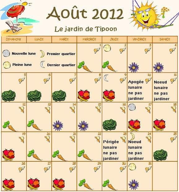 calendrier lunaire aout 2012