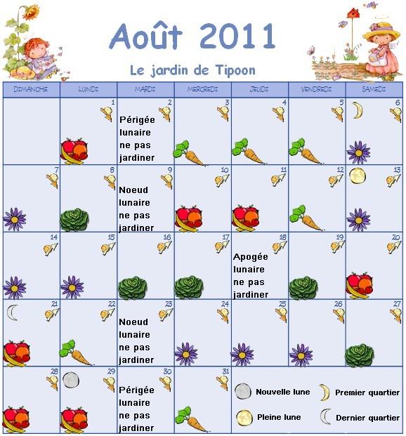 Calendrier Lunaire Du Mois D Aout 2011